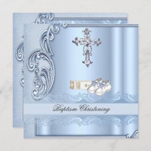 Invitación Baptism Blue Cross Boy (Corneado de damasco)