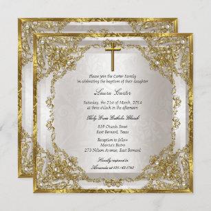 Invitación Baptismo/cristianismo dorado