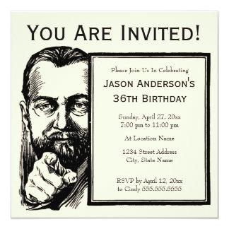 Invitación barbuda del hombre
