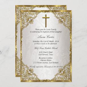 Invitación Bautismo/bautizo beige de la cruz del damasco de