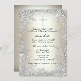 Invitación Bautismo/bautizo cristalinos de plata del copo de
