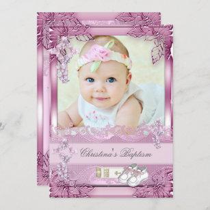 Invitación Bautizo cruzado rosado de la foto del chica del