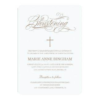 Invitación beige del bautismo de la invitación el
