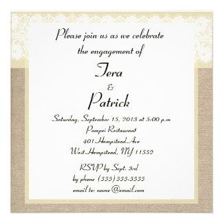 Invitación beige elegante del compromiso del cordó