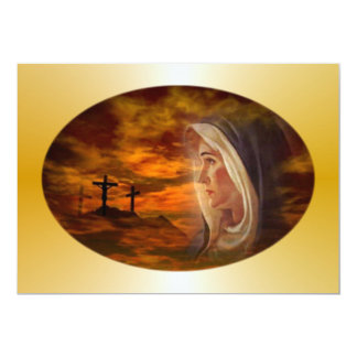 Invitación bendecida del Calvary del Virgen María Invitación 12,7 X 17,8 Cm