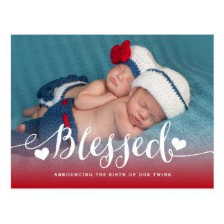 Postal Invitación bendecida del nacimiento de la foto de