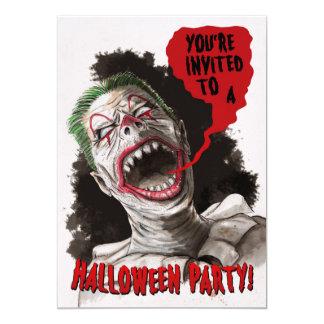 Invitación bilateral de Halloween del payaso