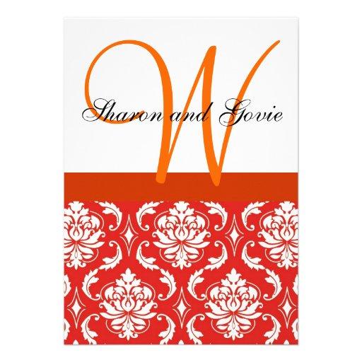 Invitación blanca anaranjada del boda del monogram