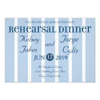 Invitación blanca azul elegante de la cena del