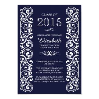 Invitación blanca de la fiesta de graduación de la