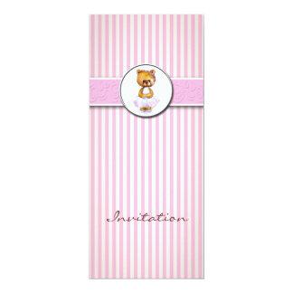 Invitación blanca de la raya del caramelo del rosa