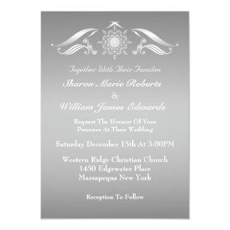 Invitación blanca de plata elegante del boda del