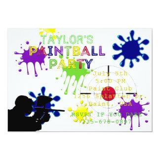 Invitación blanca de Splat del fiesta de Paintball