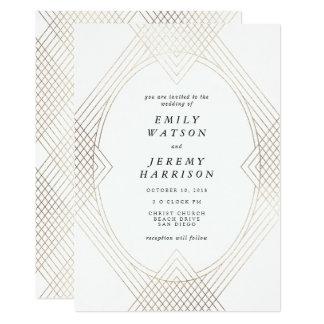 Invitación blanca del boda de Gatsby del art déco