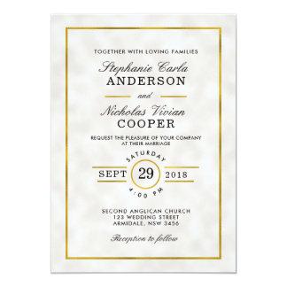 Invitación blanca del boda de la hoja de oro de la