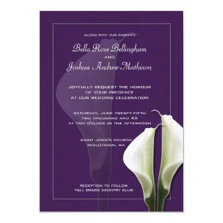 Tarjeta Invitación blanca del boda de Lillies de la cala