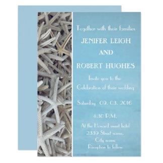 Invitación blanca del boda de playa del seashell