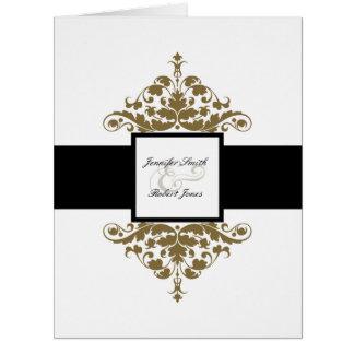 Invitación blanca del boda del damasco del negro y tarjeta