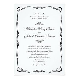 Invitación blanca del boda del marco del vintage