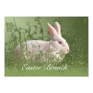 Invitación blanca del brunch del conejo de Pascua Invitación 12,7 X 17,8 Cm