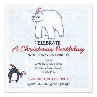 Invitación blanca del cumpleaños del navidad del o