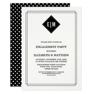Invitación blanca del fiesta de compromiso del