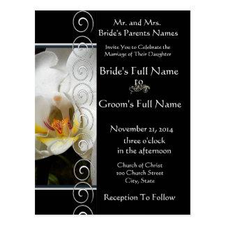 Invitación blanca elegante hermosa del boda de la