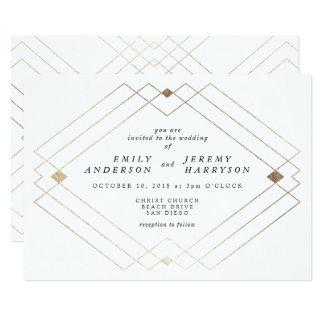 Invitación blanca geométrica del boda de Deco del