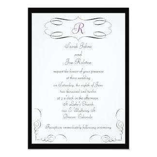 Invitación blanca negra del boda del monograma