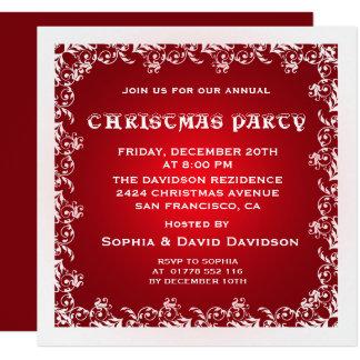 Invitación blanca roja de la fiesta de Navidad del