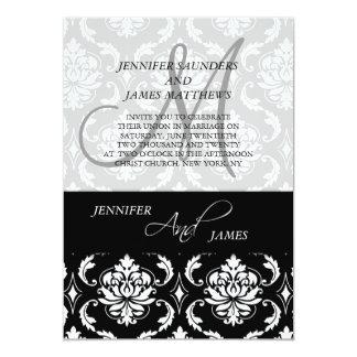 Invitación blanco y negro clásica del boda del invitación 12,7 x 17,8 cm