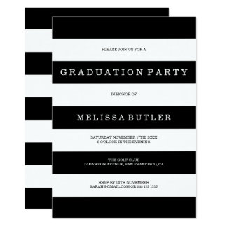 Invitación blanco y negro de la graduación de la