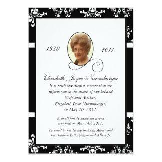 Invitación blanco y negro de la muerte de la foto invitación 12,7 x 17,8 cm