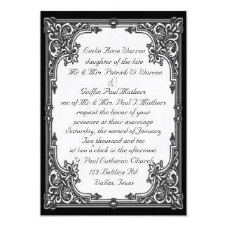 Invitación blanco y negro del boda invitación 12,7 x 17,8 cm