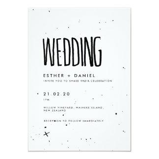Invitación blanco y negro del boda de la