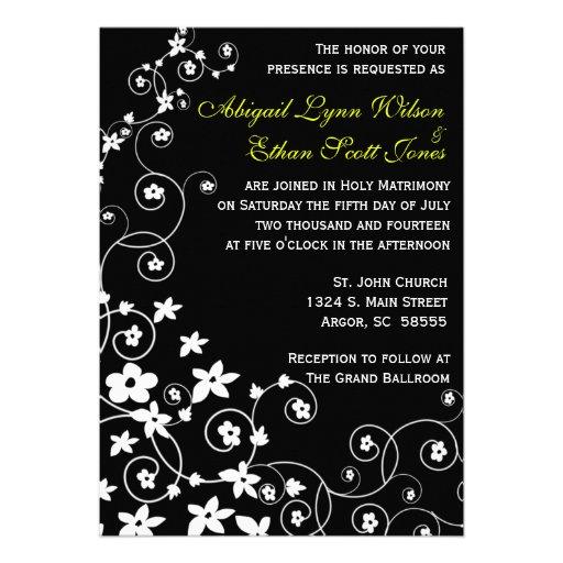 Invitación blanco y negro del boda de la margarita