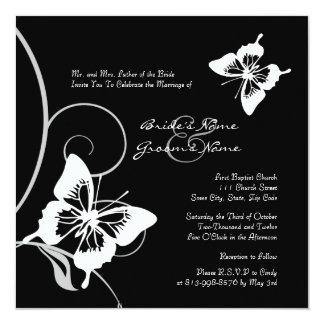 Invitación blanco y negro del boda de la mariposa invitación 13,3 cm x 13,3cm