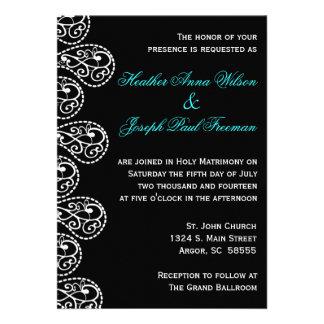 Invitación blanco y negro del boda de Paisley