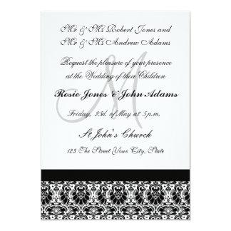 Invitación blanco y negro del boda del damasco invitación 12,7 x 17,8 cm