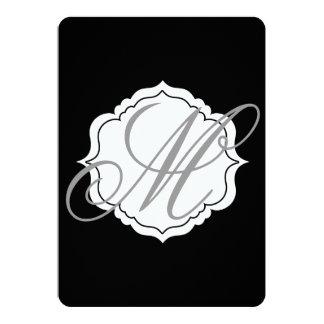 Invitación blanco y negro del boda del monograma