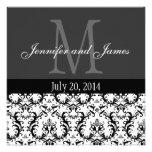 Invitación blanco y negro del boda del monograma d