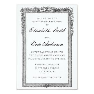 Invitación blanco y negro del boda del vintage