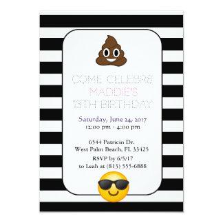 invitación blanco y negro del cumpleaños del emoji