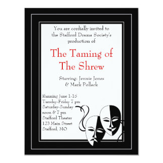 Invitación blanco y negro del drama y del teatro invitación 10,8 x 13,9 cm