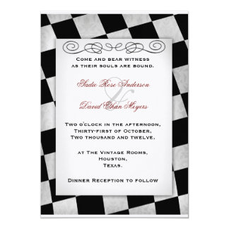 Invitación blanco y negro gótica del boda