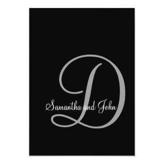 Invitación blanco y negro inicial del boda