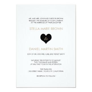 Invitación blanco y negro moderna del boda del