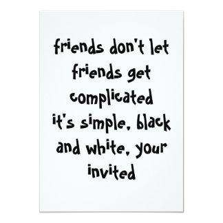 Invitación blanco y negro simple invitación 12,7 x 17,8 cm