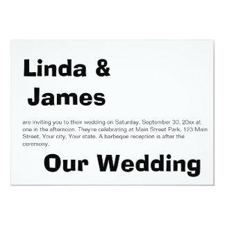 Invitación blanco y negro simple del boda