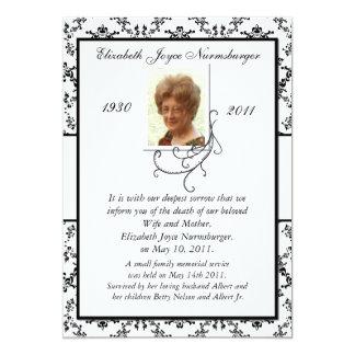 Invitación blanco y negro tradicional de la muerte invitación 12,7 x 17,8 cm